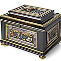 A very important Baroque ormolu mounted, marble and semi precious stones inlaid ebony casket, Florence, late 17th ct