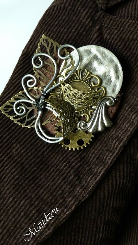 Broche Steampunk Papillon 01