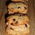 Cookies noix de coco-pépites de chocolat.