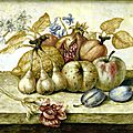 Octavianus monfort (active in turin, 2nd half 17th century), still life with pomegranate, apple, peach, pears, plums and gourd;