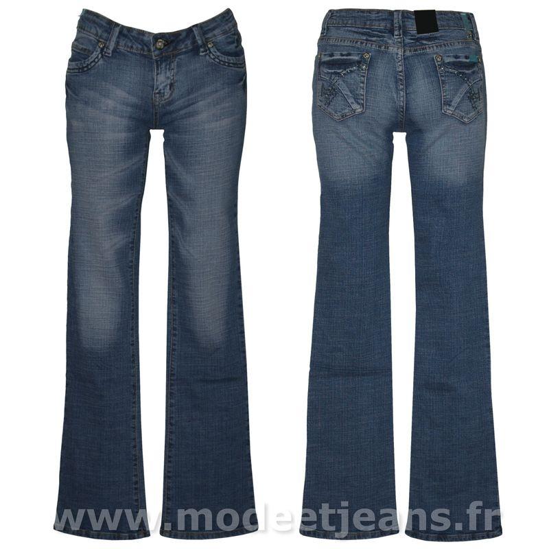 jeans bootcut bleu d lav stretch femme taille basse. Black Bedroom Furniture Sets. Home Design Ideas
