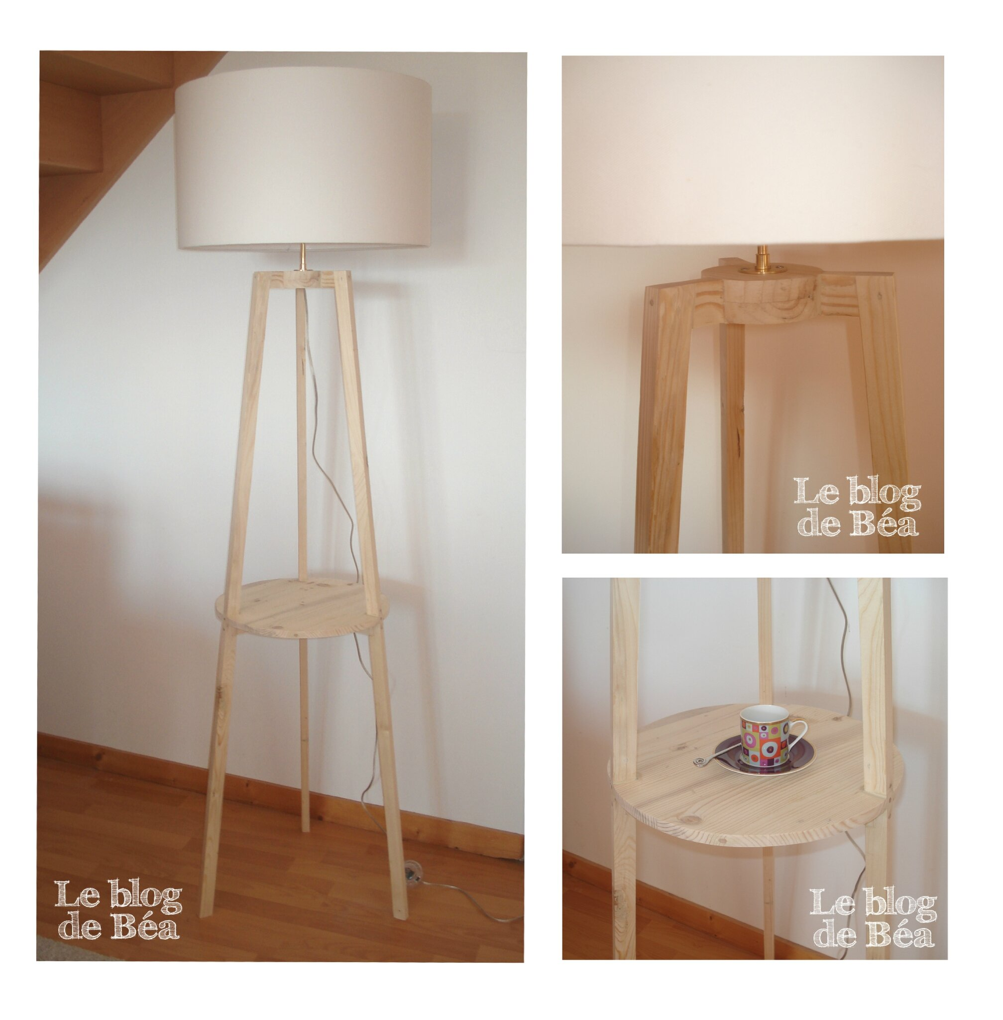 diy lampadaire tr pied avec tablette le blog de b a. Black Bedroom Furniture Sets. Home Design Ideas