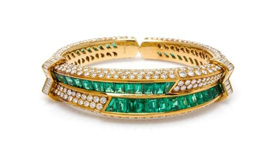 An 18 Karat Yellow Gold, Emerald and Diamond Cuff Bracelet, Harry Winston