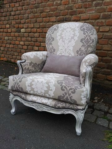fauteuil louis xv tissu jacquard taupe beige relooking de sieges. Black Bedroom Furniture Sets. Home Design Ideas