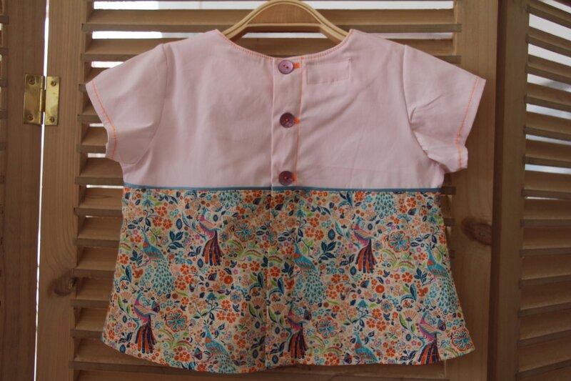 blouse bébé 6 mois, liberty et popeline de coton25€