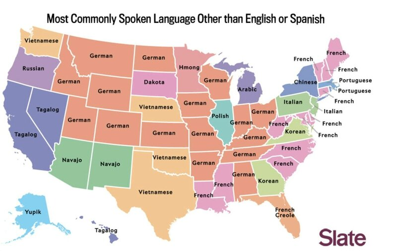 Most commonly spoken language other than English or Spanish by US state