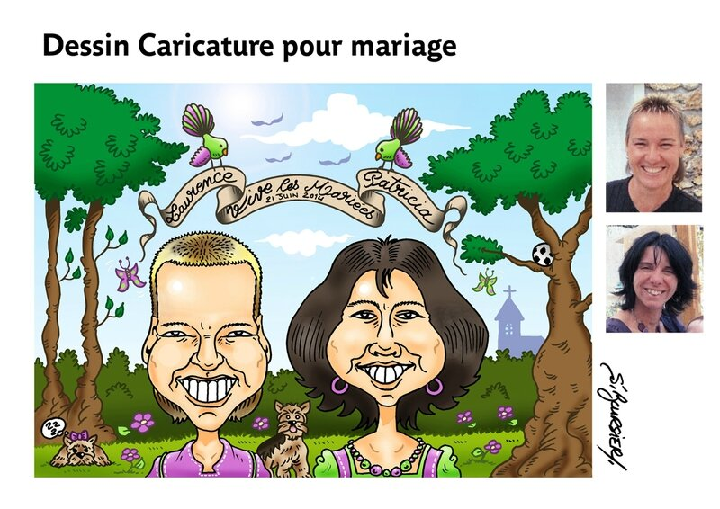 planche mariage caricat coul web