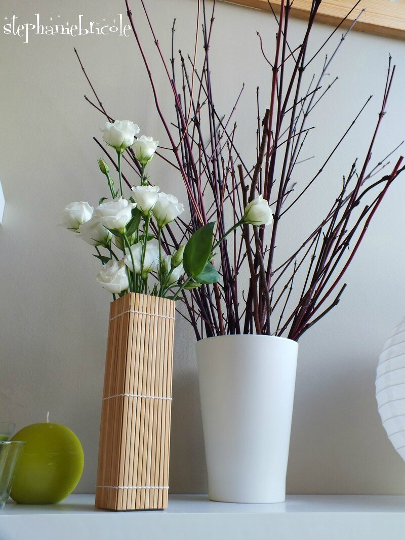 Diy d co r cup faire un vase avec un set en bambou for Bambou plastique deco