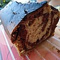 Cake marbré goût choco-noisette/vanille
