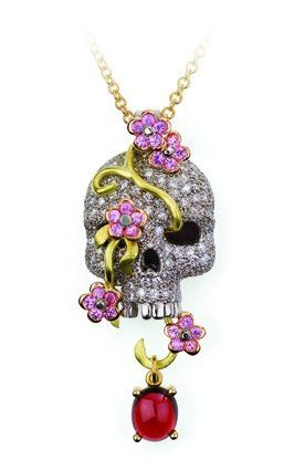 Diamond, pink sapphire and garnet skull & vine pendant, 18ct white and green gold. By David Robinson. © Robinson Designer Goldsmith 2009