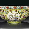 A famille rose yellow-ground 'medallion' bowl, jiaqing seal mark in iron red and of the period (1796-1820)