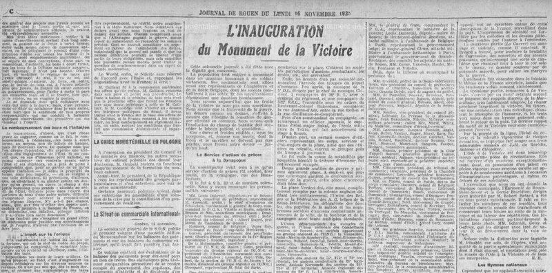 Rouen Journal de Rouen 16 novembre 1925