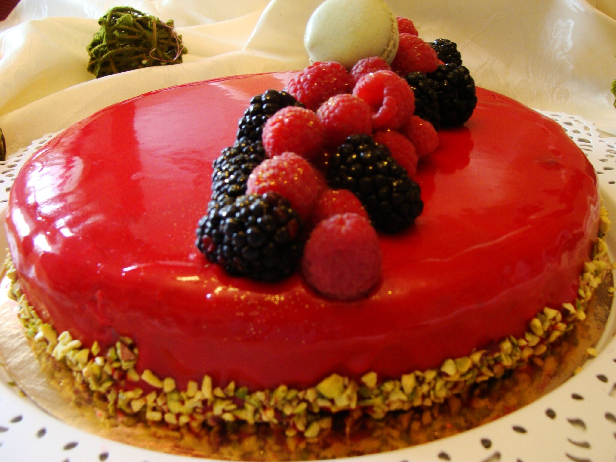 bavarois aux fruits rouge miroir aux fruits rouge
