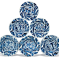 A set of six blue and white moulded plates, Kangxi period (1662-1722)