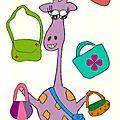 La girafe est folle des sacs, des pochettes, des broches