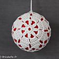 1 boule rond crochet blanc face