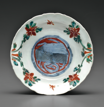 A underglaze-blue and red and green-glazed 'klapmuts' bowl, Transitional period, circa 1630-1643
