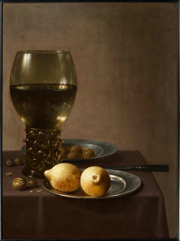 Floris van Schooten (1605 - Haarlem 1656), A Still-Life of a Röhmer, a plate of lemons, a dish of olives, nuts and a knife on a