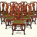 A set of ten italian chinoiserie red lacquered and parcel-gilt chairs, venetian, second quarter 18th century