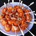 Brochettes de crevettes et carottes