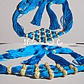 Ceinture caftan souple bleu petrole