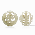 Two matched pierced jade pendants in pale celadon tone, china, qing dynasty (1644-1912)