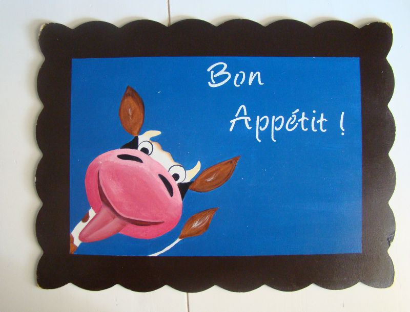 Set de table vache rigolote photo de peinture sur bois aux couleurs de mes envies - Photo vache rigolote ...