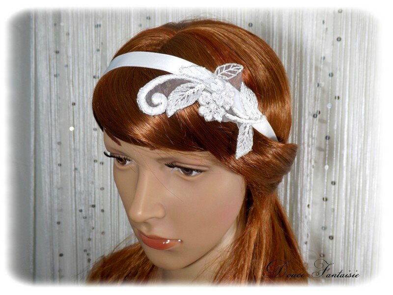 Headband dentelle satin blanc