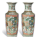 A pair of large famille verte vases, 19th century