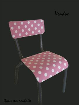 Chaise pois rose