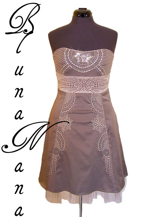 Robe bustier en satin taupe
