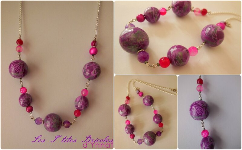 collier purple & pink