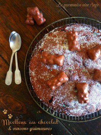 moelleux au chocolat oursons guimauves