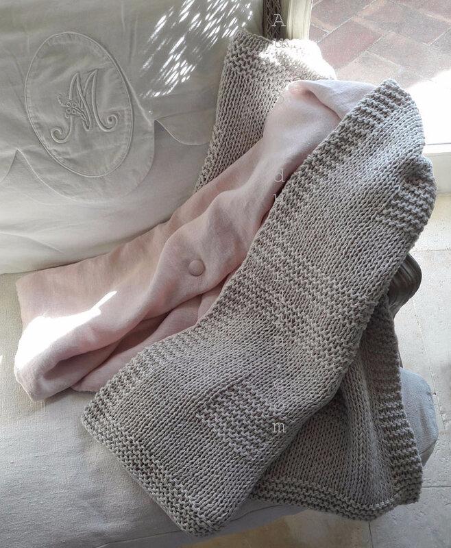 Plaid lin rose et coton copie
