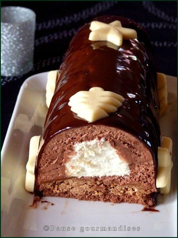 Bûche chocolat vanille sur croustillant praliné (64)