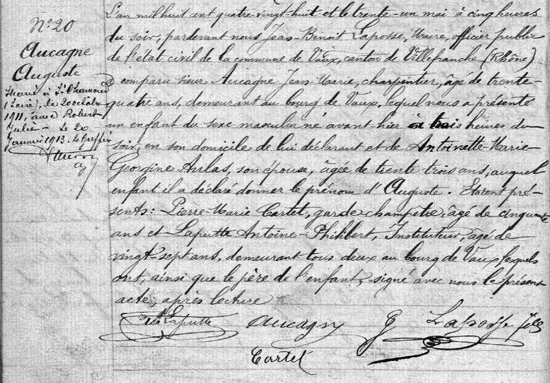 Aucagne Auguste état civil