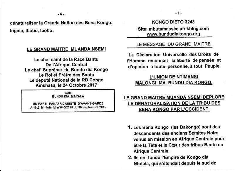 LE GRAND MAITRE MUANDA NSEMI DEPLORE LA DENATURALISATION DE LA TRIBU DES BENA KONGO PAR L'OCCIDENT a