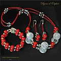 Creation bijoux parure corail gorgone rouge