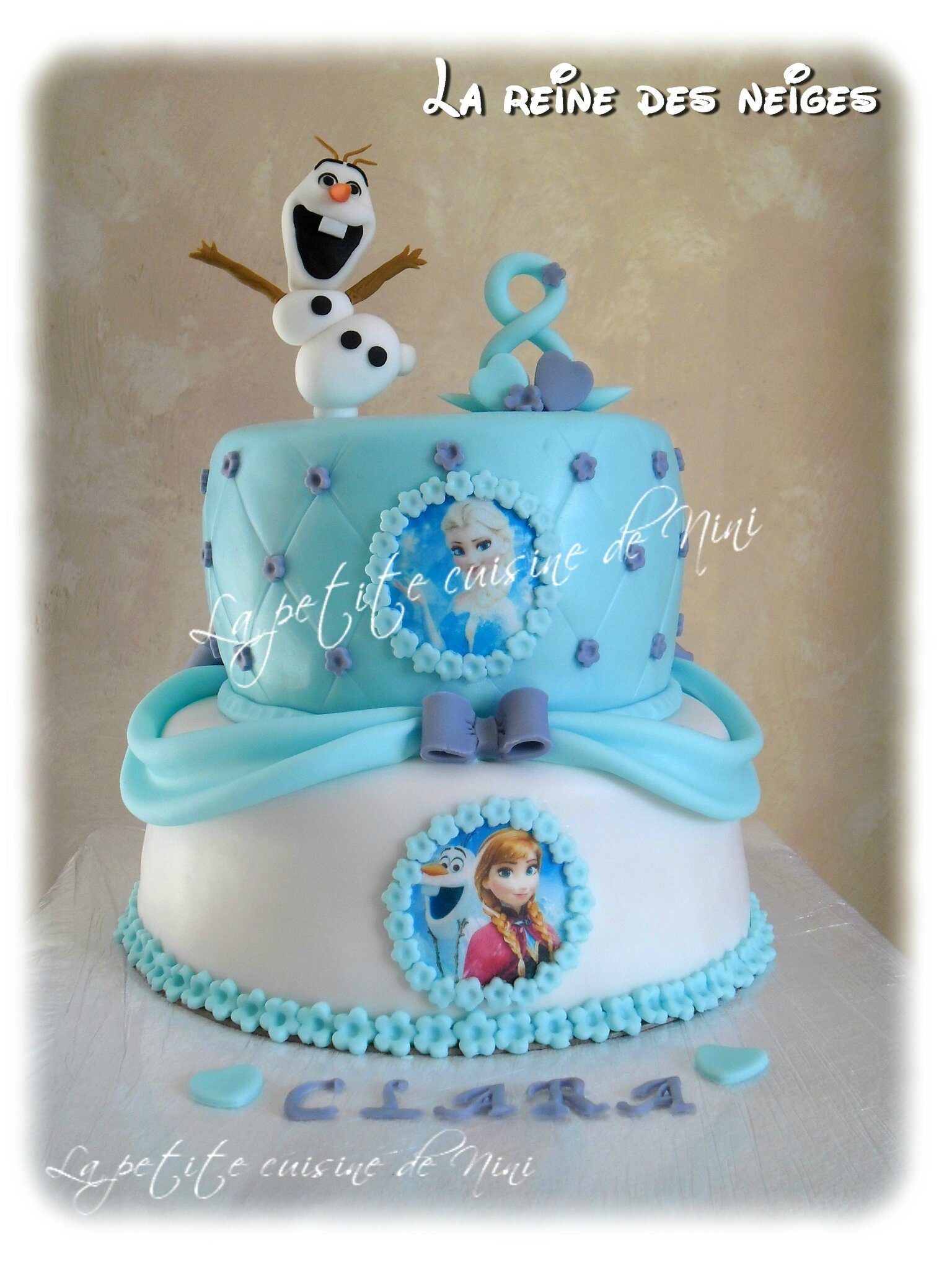 Photo sur gateau reine des neiges