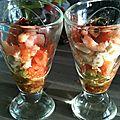 Verrines croquante tomate/mozza/crevette