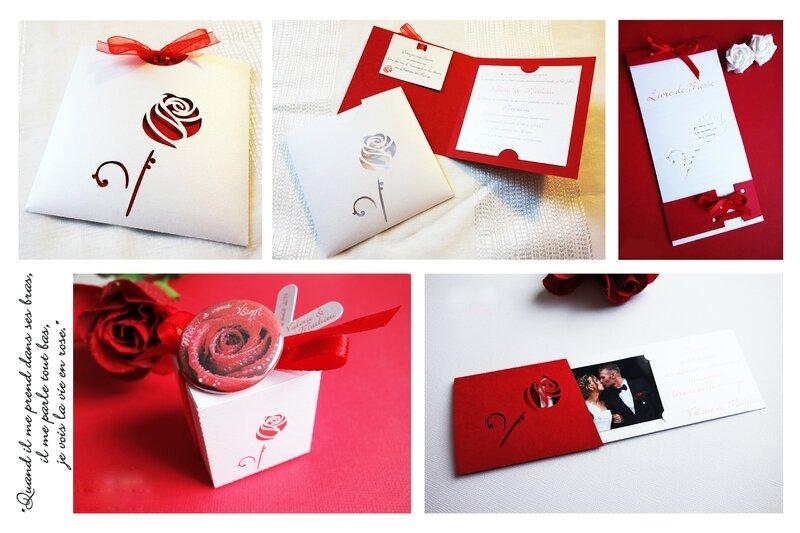 collection faire-part remerciement livret messe boite dragee badge magnet rose rouge