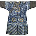 A blue-ground silk and gold thread embroidered nine dragon robe, china, 19th century