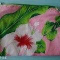 Trousse de maquillage avec du véritable tissu de tahiti