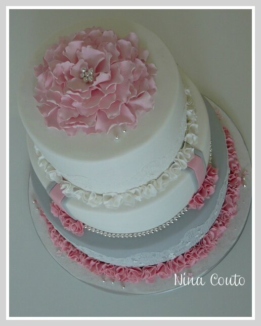 wedding cake gris rose blanc Nimes5