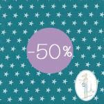 tissu etoile tissu grosse turquoise )50% soldes chez sylvette en goguette
