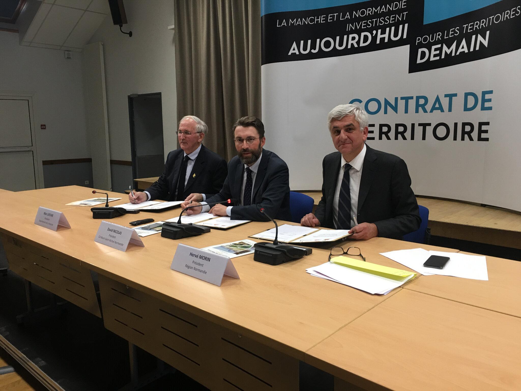 contrat de territoire (2019-2021) signé entre l'Agglo, le département de la Manche et la région Normandie - jeudi 28 mars 2019