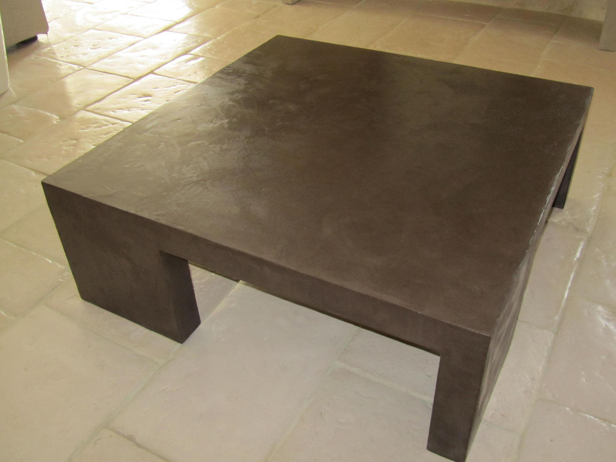 Table Beton Cire dedans table de salon en beton cire- - photo de beton cire - le mobilier