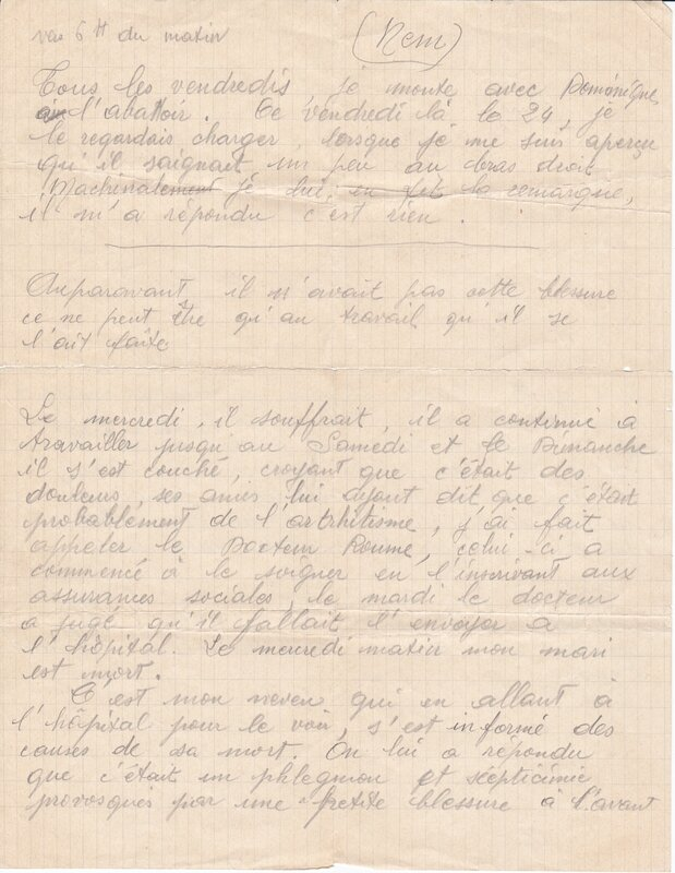 Lettre accident Dominique
