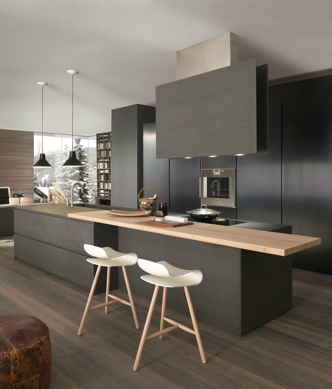 Black-kitchen-featuring-blocks-two-different-types-of-wood