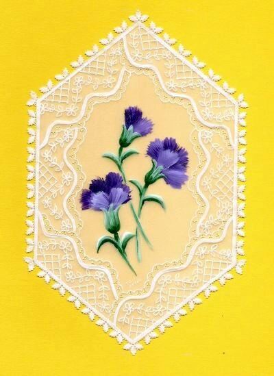 oeillets violets d'après un modèle du livre Amazing Brushstrokes 08-2010